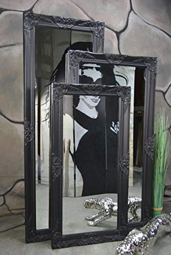 Livitat Wandspiegel Badspiegel Spiegel barock antik Schwarz Landhaus Rokoko 120 x 60 cm