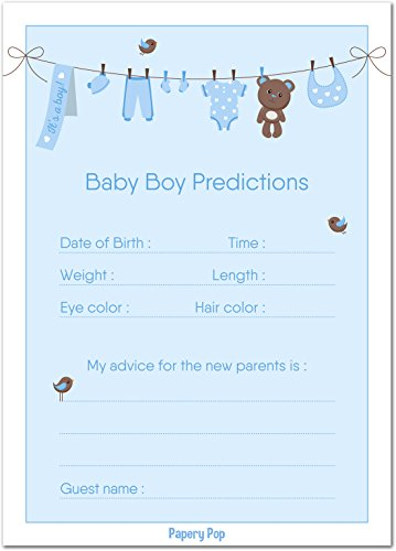 Papery Pop 30 Baby Shower Prediction and Advice Cards for The Baby Boy - Baby Shower Games Decorations Activities Supplies Invitations