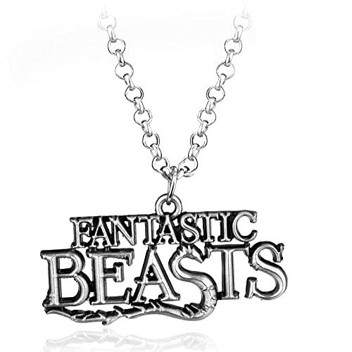 Animales fantásticos y dónde encontrar Collar de metal con logotipo temático para coche Chaveiro Collares pendientes Joyería de cosplay-Plata antigua