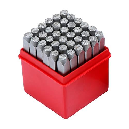 WiMas 36PCS Zahlen und Buchstaben Punch Set, 6mm Stahl Metall Punch Set Metall und Leder Stamp