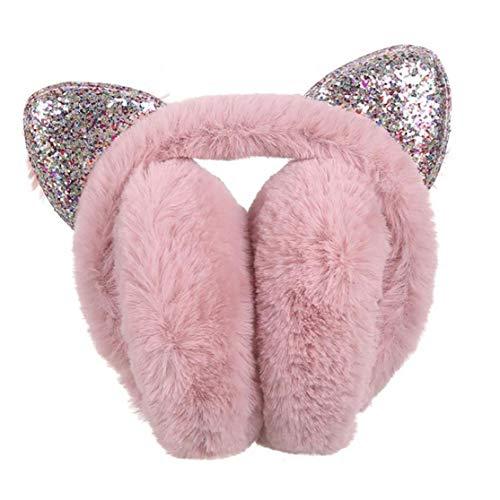 Oído de la Lentejuela de la orejera del Gato del Gato Creativo del oído Forma Grueso y Fino orejera del Cabezal del Flash Felpa Linda con el Ornamento del Pelo Tocado de la Manera Nieve Brote Color