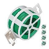Relaxdays, grün 5er Pack Gartendraht 50m, kunststoffummantelter Bindedraht, für Pflanzen, Spule mit Schneider, rostfrei