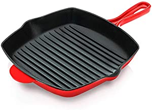 NutriChef Nonstick Cast Iron Grill Pan - 11-Inch Kitchen Square Cast Iron Skillet Grilling Pan, Enameled Cast Iron Skillet Steak Pan w/ Side Drip Spout For Electric Stovetop, Induction, Gas -