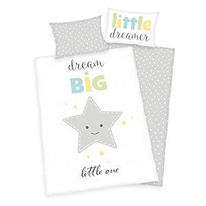 3 piezas. Ropa de cama para bebé reversible, diseño de estrellas renforcé 100 x 135 cm + 40 x 60 cm + 1 sábana bajera de 70 x 140 cm blanco Con sábanas: blanco. Talla:70 x 140 cm