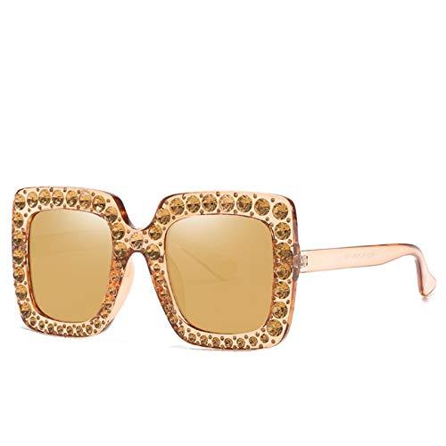 LALB Gafas De Sol, Mujeres Europeas Y Americanas con Gafas De Sol De Marco De Diamantes, Gafas Cuadradas Grandes, Gafas De Sol De Diamante Completo,D