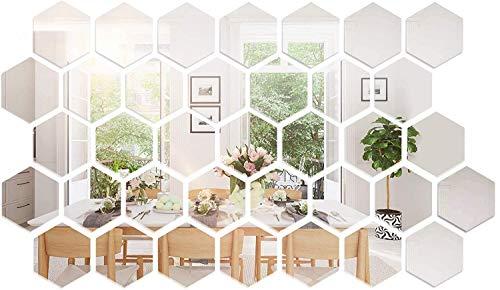 RunFa Spiegel-Wandaufkleber Spiegelfliesen Wandspiegel Selbstklebend, 36 Stück Hexagon-Spiegel Silber Wandbild für Zuhause, Wohnzimmer, Schlafzimmer Sofa, TV, Hintergrund, Wand-Dekoration