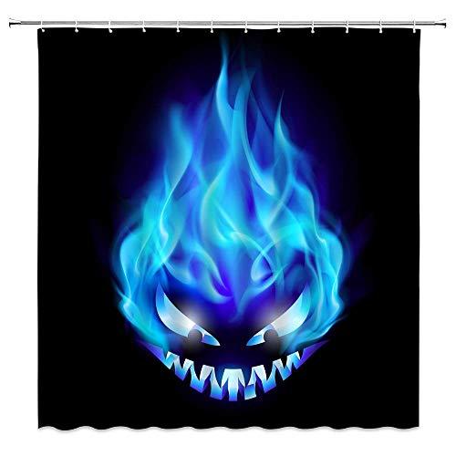 LRSJD Sugar Skull Duschvorhang Tag der Toten, blaue Flamme, Totenkopf, Feuer, Gothic, Skelett, Vintage, schwarzer Hintergrund, Stoff, Badezimmer-Vorhang-Set, 183 x 183 cm, mit Haken, Blau / Schwarz