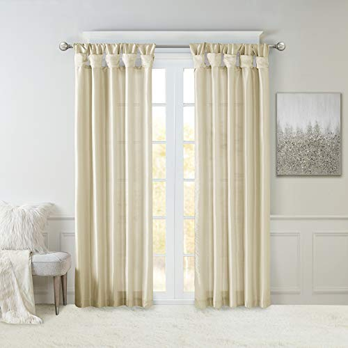 Madison Park Emilia Faux Silk Curtain with Privacy Lining, DIY Twist Tab Top, Window Drapes for Living Room, Bedroom and Dorm, 50x95, Champagne