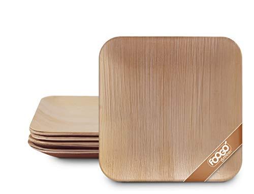 FOOGO Green 25 Platos de hoja de palma Desechable|20cm Cuadrado Duro| Vajilla Ecológico Biodegradable|Como platos de bambu, Platos de plástico, Platos de papel|Para la Fiesta de Bodas,Camping