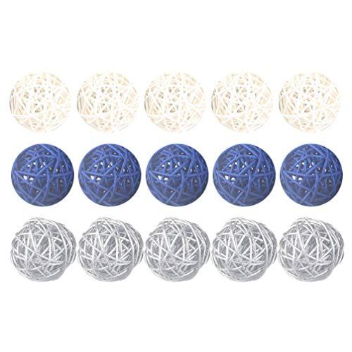 Artibetter 15 Piezas de Bolas de Ratán Bola de Vid Decorativa 5 Cm Bolas de Mimbre de Mimbre para Bricolaje Artesanía Jardín de Infantes Bar Decoración del Hogar (Azul + Blanco + Gris)