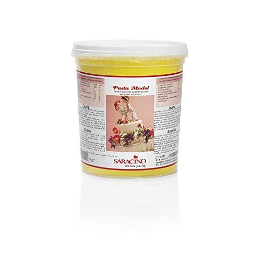 Saracino Modellierpaste Modellierfondant - Gelb 1 kg Eimer