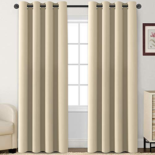 Flamingo P Blackout Curtains 84 Inch Length 2 Panles Set Thermal Insulated Light Blocking Soft Thick Grommet Curtain Drapes for Bedroom/Living Room Home Decoration Window Draperies, Elegant Beige