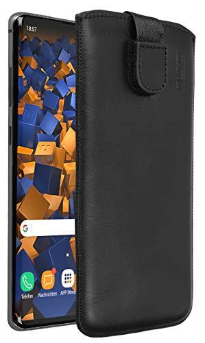 mumbi Echt-Ledertasche kompatibel mit Samsung Galaxy S10+ / S10 Plus , Tasche Leder Etui schwarz inkl. Lasche mit Rückzugfunktion/Ausziehhilfe
