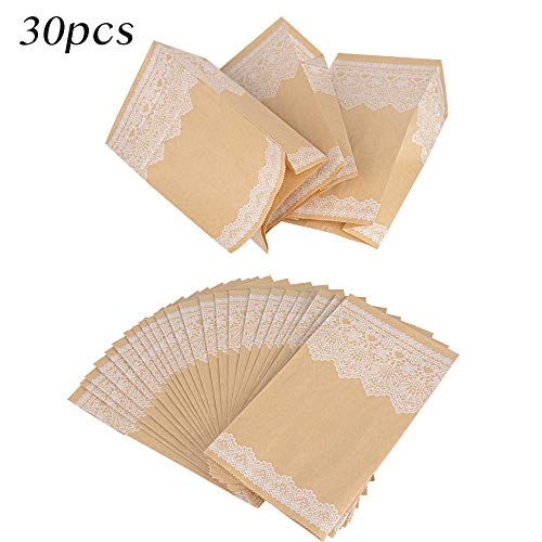 (13 * 8 * 24cm) 30 Stück Braune Papiertüten Papierbeutel Kraftpapiertüten Vintage Tüten mit Boden Geschenktüten Kraftpapier für Adventskalender Geschenke verpacken Kommunion Hochzeit