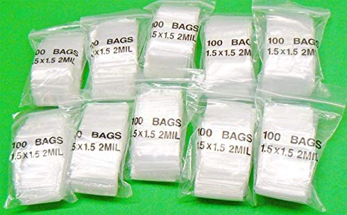 """iMBAPrice Clear Reclosable Poly Bags(1.5"""" x 1.5"""" Inch) Case of 1000 Bags"""