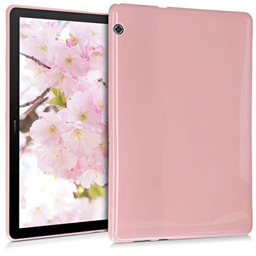 kwmobile Hulle kompatibel mit Huawei MediaPad T5 10 Silikon Tablet Cover Case Schutzhulle Altrosa