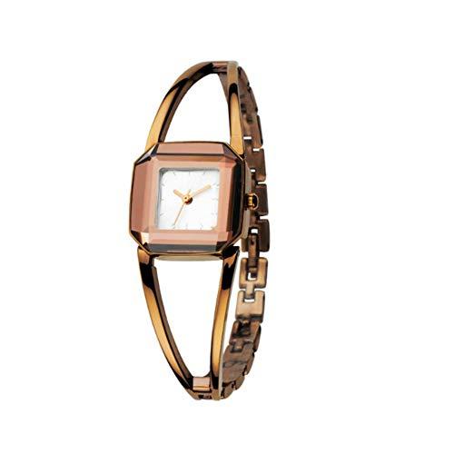 Yahunosu Mujeres Reloj analógico de Cuarzo Relojes de Pulsera Movimiento con aleación Brazalete clásico Impermeable Dial Square Café Blanco de la Cara
