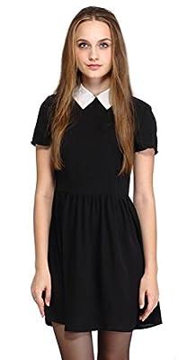 Halife Women's Short Sleeve Black Peter Pan Collar Doll Dress