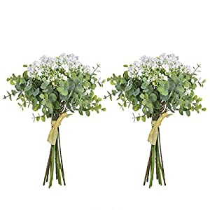 Anna Homey Decor Fake Flowers Flower Bouquets,Total of 6 Baby Breath Flowers and 6 Silver Dollar Eucalyptus Artificial Flowers for Home Office Indoor Outdoor Wedding Aisle Decoration