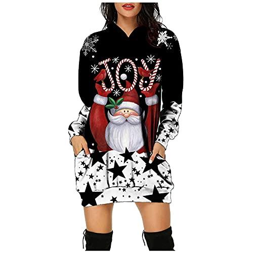 Boshivw Maglione natalizio da donna, con cappuccio, divertente maglione natalizio, con renna, pupazzo di neve di Natale, a maniche lunghe, bianco, XL