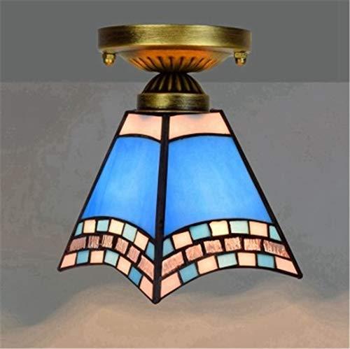 Colorido techo de cristal de cristal vintage retro mediterráneo lámparas de techo del pasillo del pasillo LED E27 Balcony Lámpara de iluminación see pic10