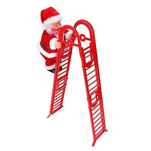 Scala da Arrampicata per Babbo Natale, Achort Santa Climbing Rope Ladder, Bambola di Peluche con Babbo Natale a Doppio Binario Creativa Elettrica Potenziata con Musica, Regali di Natale per Bambini