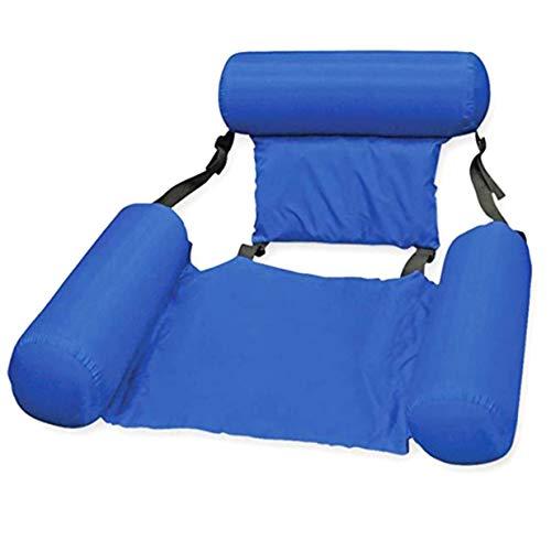 Timetided Silla Flotante Azul Grande para Piscina, Anillo de natación Plegable portátil, colchón de Aire, Cama de Agua para Adultos, niños, 100x120cm - Azul