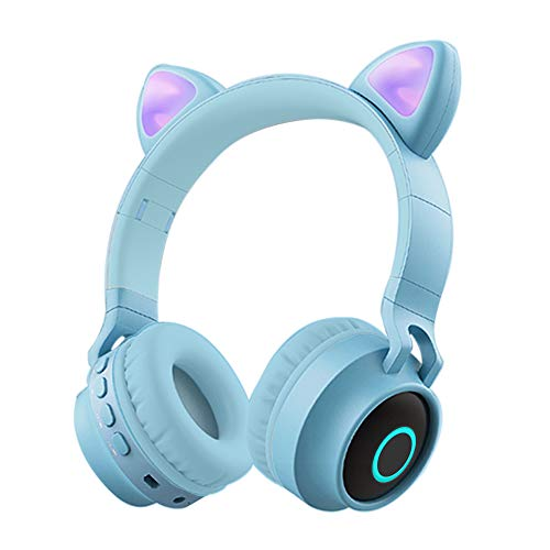 Auriculares Bluetooth para Niños con Micrófono,Funwaretech Auriculares Inalámbricos con Orejas de Gato,Estéreo de Alta Fidelidad para iPhone Android PC de Niña(Azul)