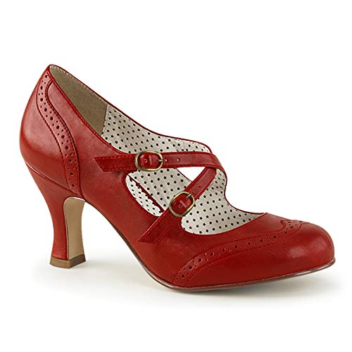 Pinup Couture FLAPPER-35, Zapatos de tacón con Punta Cerrada para Mujer, Rot (Red Faux Leather), 36 EU