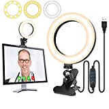 Whellen Clip On Ring Light for Computer/Laptop Monitor, Self Broadcasting Lighting Kit for Video Conference/Zoom Meetings/Online Remote Working/Distance Learning/Video Calls and Live Streaming
