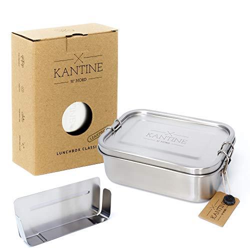 Kantine 51° Nord ® Lunchbox Classic   Auslaufsichere 800ml Edelstahl Brotdose mit 2 Fächern durch Flexible Trennwand