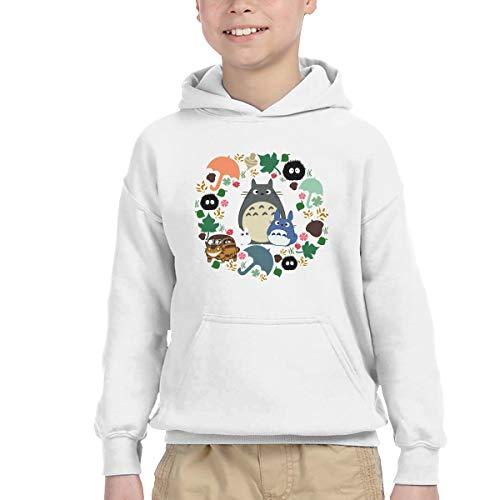 HATUO My Neighbor Totoro Wreath - Anime, Catbus, Soot Sprite, Totoro, Umbrella Kids Children Hooded Sweatshirt Boys Girls Pullover Hoodie with Pocket