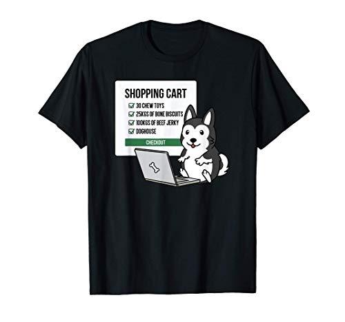 ショッピングカートシベリアン・ハスキー犬 Tシャツ
