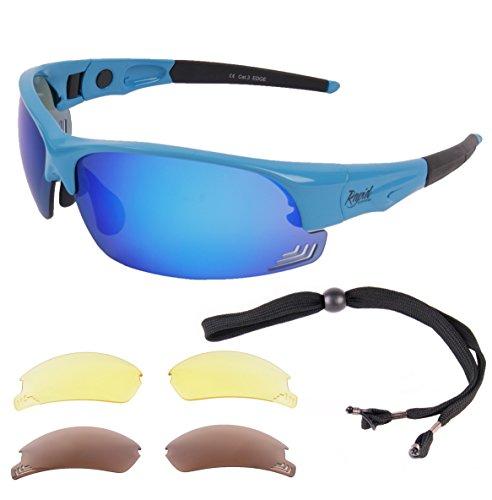 Rapid Eyewear Edge Bleu Adjustable Lunettes SOLAIRES DE Sport Verres Polarisés Interchangeables. pour Hommes et Femmes. Lunettes de Soleil avec lentil