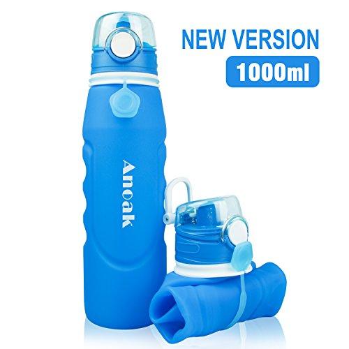 Anoak Faltbare Trinkflasche 100% BPA-frei Wasserflasche mit Leck Sicherheitsventil für Camping, Sport, Outdoor und Reisen,Sportflasche,1000ML,Blau[2018 Neues Upgrade]