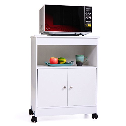 JAXPETY Rolling Wooden Storage Cabinet Kitchen Microwave Cart