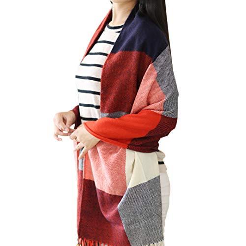 Miss Lulu Damen Schal Kariert übergroßer Quadratisch Deckenschal Winterschal Karo Tartan Streifen Plaid Muster Oversized Fransen Poncho (Rot)