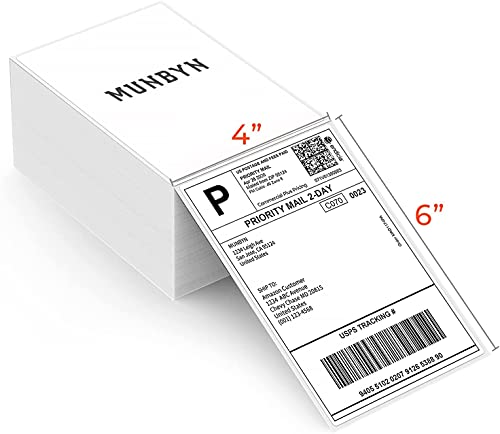 MUNBYN 4x6 Versandaufkleber Direkte Thermische Fanfold-Versandetiketten 500 Etiketten für Postanschriften DHL USPS UPS FedEx Amazon Ebay-Versandetikette
