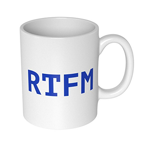 getDigital RTFM Becher Tasse für Nerds und Geeks, Keramik, weiß, 10 x 10 x 10 cm