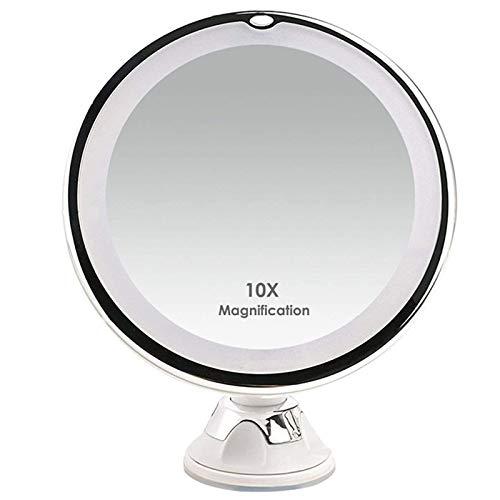 WOGQX Espejo de aumento de 10 aumentos con luces, My Mirror As Seen en TV, espejo giratorio de 360 ° para baño, afeitado, tocador de viaje, inalámbrico
