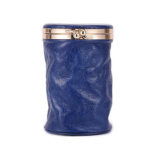 Capa superior de aceite de cera de cuero mujeres cosméticos bolsa pequeña portátil retro lindo mini perfume almacenamiento maquillaje lápiz labial bolsa con espejo, azul real (Azul) - CL-8296