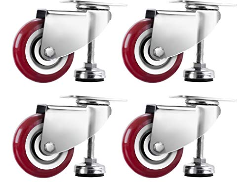 SPACECARE 2.5 Inches Swivel Caster Wheels, Heavy Duty Casters Set of 4 with Leg Levelers, 1000Lbs with 360 Degree No Noise Furniture Wheels