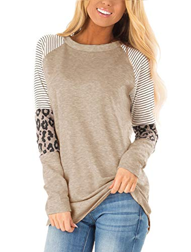 Floral Find Women's Long Sleeve Leopard Color Block Tunic Comfy Stripe Round Neck T Shirt Tops Brown