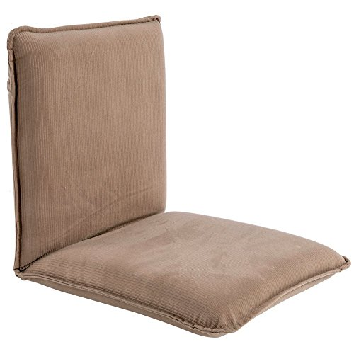 "Sundale Outdoor Indoor Adjustable Soft-Brushed Polyester Cord Five-Position Multiangle Floor Chair, 17.5""(L) x 17""(W) x 17.5""(H), Tan"