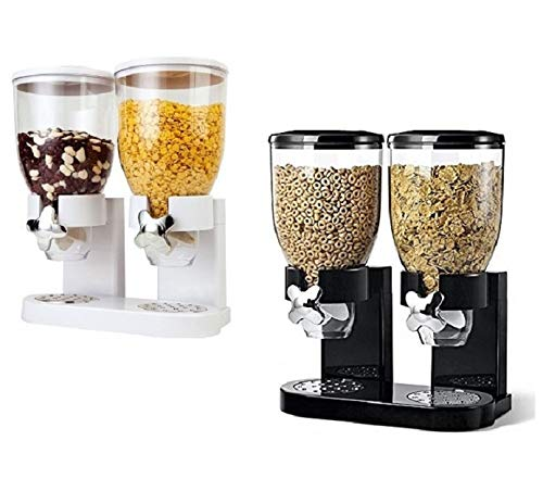 Rich Taste Double Cereal Double Plastic Classic Dry Food Cereal Dispenser...