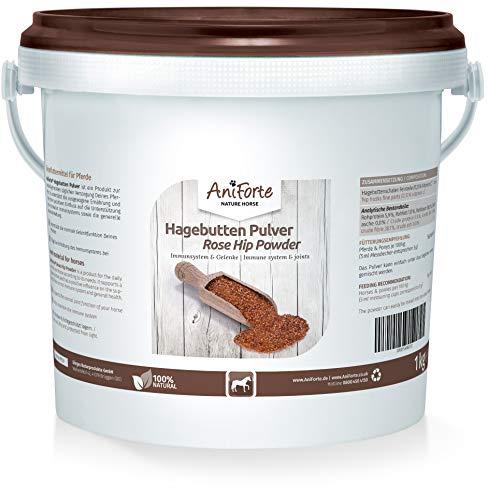 AniForte Hagebuttenpulver für Pferde 1kg - Natürliches Gelenkpulver, Gelenkfunktion & Immunsystem stärken, wichtige Vitamine & Pflanzenstoffe für Abwehrkräfte, Antioxidantien