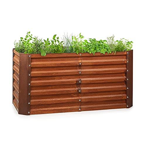 blumfeldt Rust Grow Hochbeet Gartenbeet, verzinktes Stahlblech, Materialstärke: 0,6 mm, einfache Montage, Rost-Finish, 120 x 60 x 60 cm (BxHxT), Rost