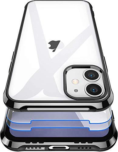 Garegce Cover Compatibile con iPhone 11 con 2 Pezzi Vetro Temperato, Trasparente Silicone, Sottile Antiurto AntiGraffio Protettiva Custodia Compatibile con iPhone 11-6.1 Pollici - Plating Nero
