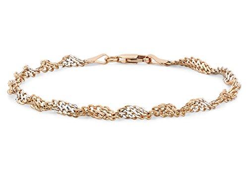 Carissima Gold 9 ct 2 Colour Gold Twist Curb Bracelet of Length 19 cm/7.5 inch