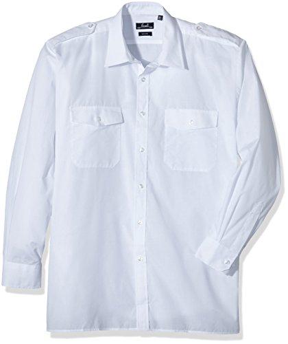 Premier Workwear Long Sleeved Pilot Shirt Camicia, Bianco (White), X-Small Uomo